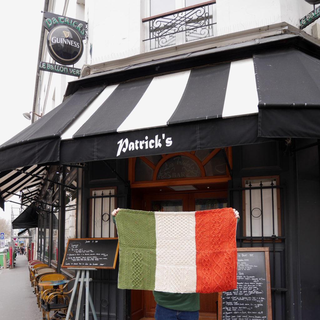 drapeau irlandais tricot torsades