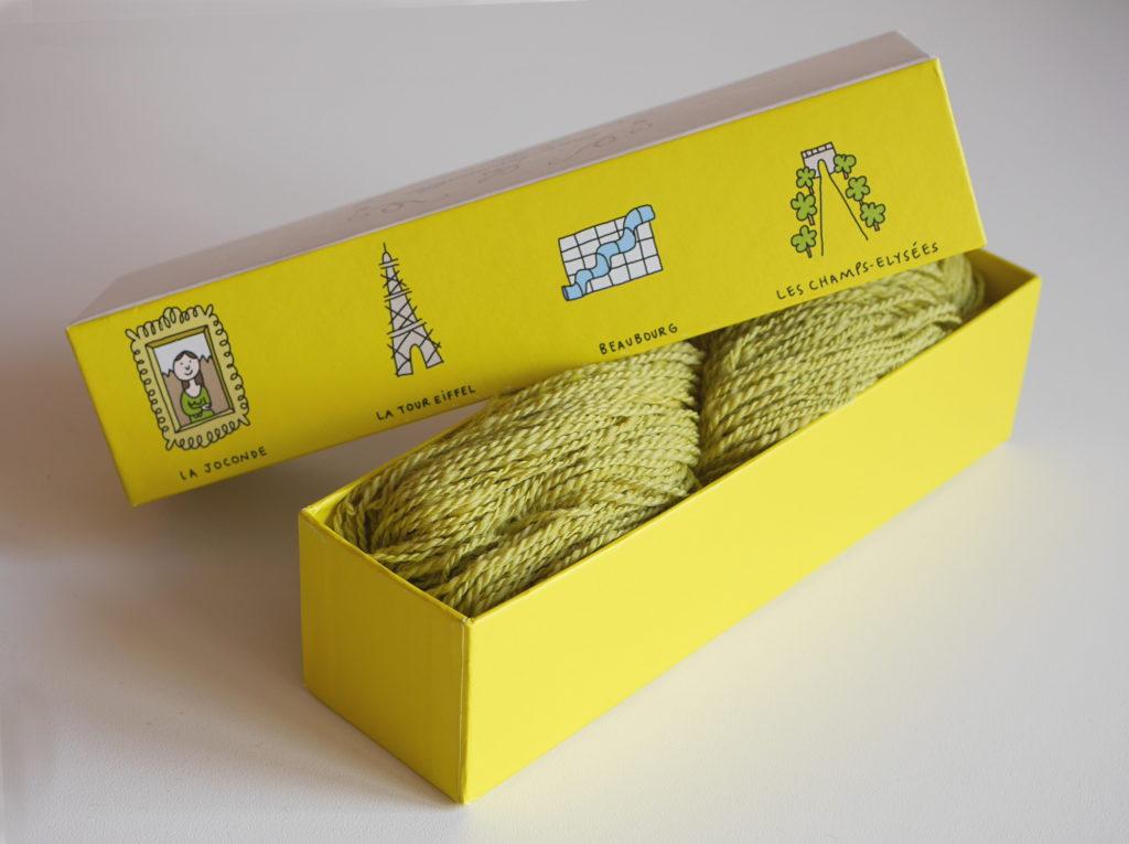 filage écheveau d'art dans une boîte