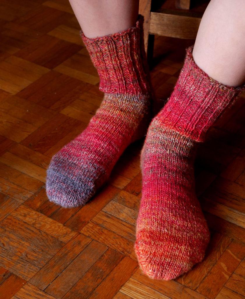 chaussettes tricotées en filé main
