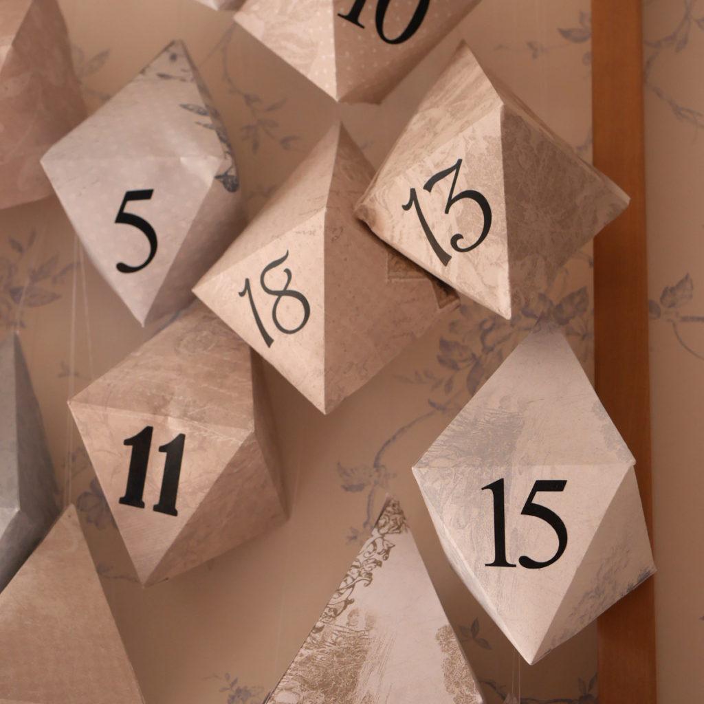 calendrier de l'avent diy octaédrier filage